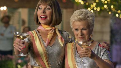 "Christine Barabski, left and Julie Walters in a scene from ""Mamma Mia! Here We Go Again"