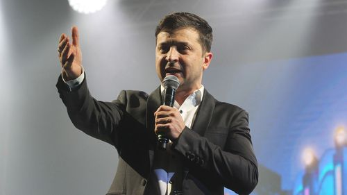 Ukrainian comic actor and presidential candidate Volodymyr Zelensky.