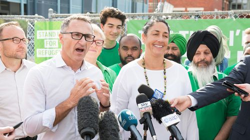Greens Candidate for Batman Alex Bhathal is seen during a press conference with Greens Leader Dr Richard Di Natale on March 17. (AAP)