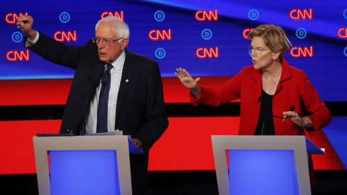 Bernie Sanders and Elizabeth Warren were both targeted by moderate Democrats in the debate.