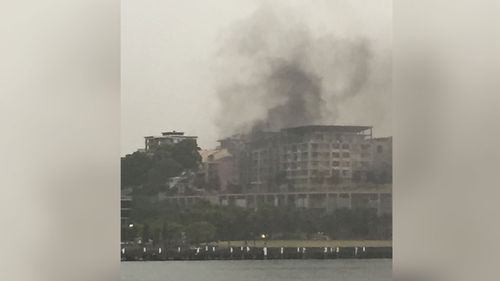 A fire in Pyrmont is believed to have started by a lightning strike. (Chris Hood)