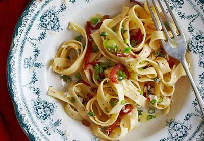 Tagliatelle with bacon and anchovies