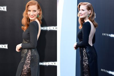 Usually known for her more demure style, Jessica Chastain opted instead for this racy lacy dress...