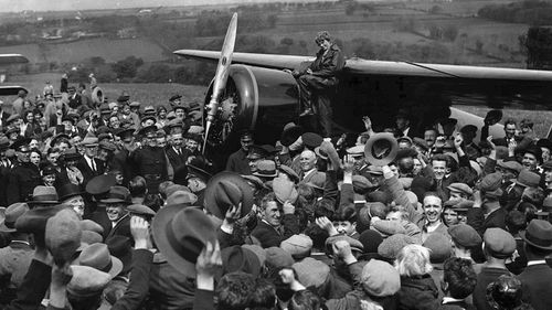 Aviator Amelia Earhart drew massive crowds with her feats of aviation. (AP).