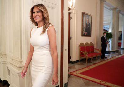 Donald and Melania Trump round table White House