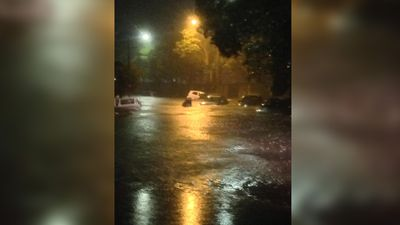 Cars submerged at Belmore.