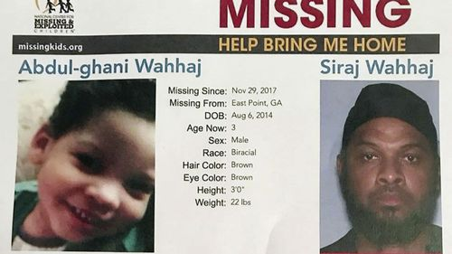 The boy, Abdul-ghani Wahhaj, would have turned four on Monday. Authorities said he was snatched from his mother in December in Jonesboro, Georgia, near Atlanta.