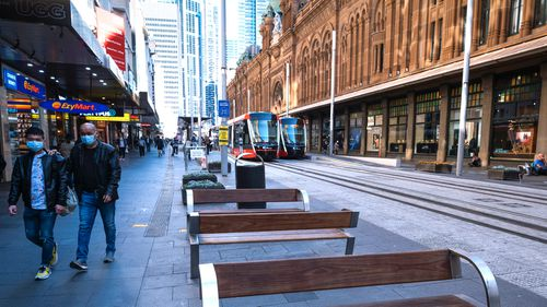 An empty Sydney CBD during lunchtime