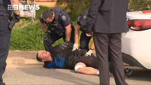 Officers located the suspected attacker nearby and arrested him.