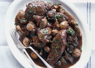 """Recipe:&nbsp;<a href=""""http://kitchen.nine.com.au/2016/05/19/16/09/coq-au-vin"""" target=""""_top"""">Coq au vin with mashed potato</a>"""