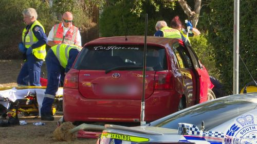The car that allegedly struck a priest in Cecil Hills. (9NEWS)