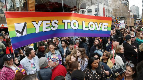 The crowd rallied in support of a 'yes' vote in the upcoming marriage equality postal survey. (AAP)
