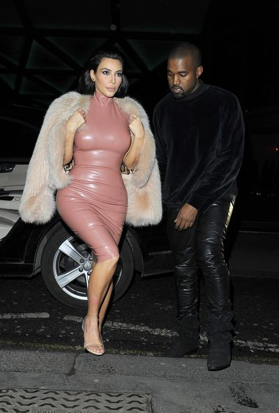 Kim Kardashian and Kayne West at Mr Chow restaurant in London, February, 2015