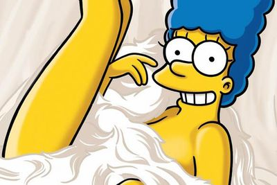 Marge — seen here posing for <I>Playboy</I> — is a total babe. So what's she doing with a lump like Homer? (Oh, that's right. True love, or something lame like that.)