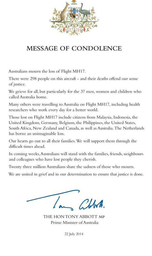 Tony Abbott releases letter of condolence for families of MH17 victims