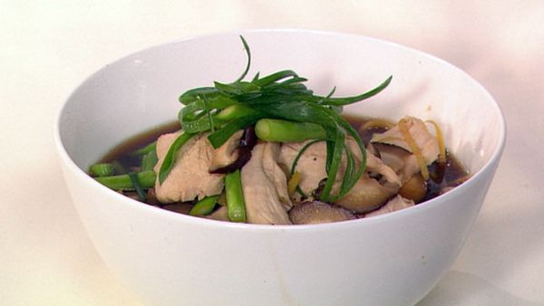 Fragrant asian chicken noodle soup