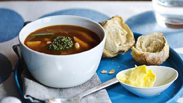 Hearty vegetable soup with pistou