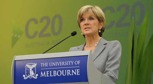 Julie Bishop at the opening of the C20 meeting. (AAP)