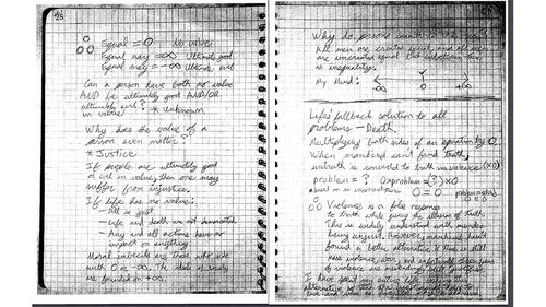 Further pdfs of the notebook. (AAP)