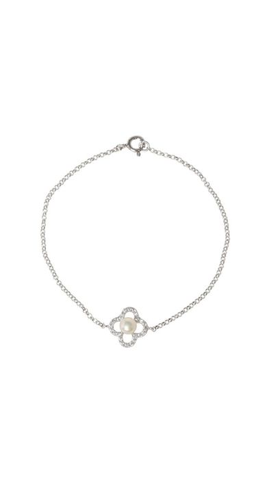 "<a href=""http://www.myer.com.au/shop/mystore/women/fashion-jewellery/pure-elements-cz-clover-bracelet"">CZ Clover Bracelet, $109, Pure Elements</a>"
