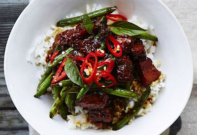 Asian caramel pork with green beans