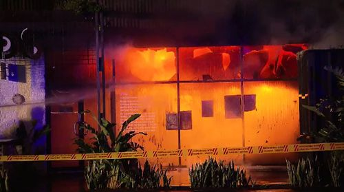 The building was left glowing orange as firefighters worked to extinguish the blaze, which destroyed the venue. Picture: 9NEWS.