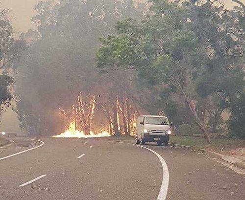 The flames jumped major roads during the bushfire. (Luke Cooper)
