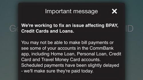 The message displayed to customers on the bank's app.