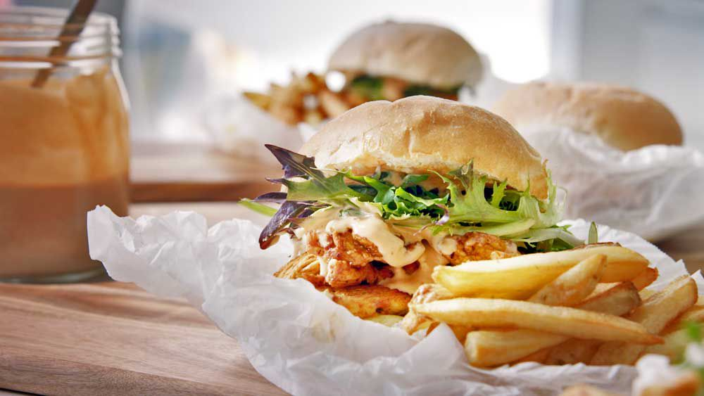 Portuguese-inspired chicken burgers and chips