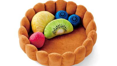 The fruit tart cat bed comes complete with fruity little pillows