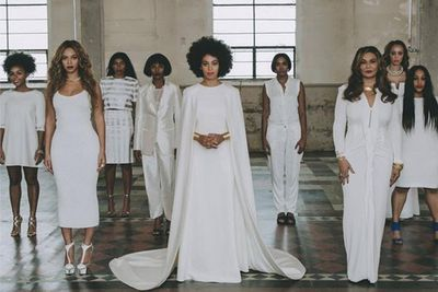 Solange stunned with her bridal gown and cape, by Humberto Leon for Kenzo.<br><br>Image: Instagram/Beyonce