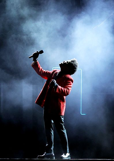 The Weeknd performs during the Pepsi Super Bowl LV Halftime Show at Raymond James Stadium on February 07, 2021 in Tampa, Florida. (Photo by Kevin C. Cox/Getty Images)